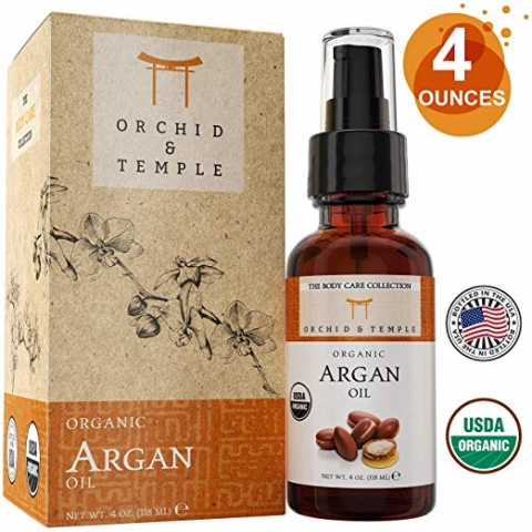 USDA Certified Organic Argan Oil 4 oz Bottle w Spray Applicator. Pure and Undiluted. Cold-Pressed, Unrefined, and Extra Virgin.